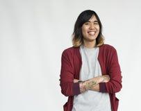 Concepto alegre sonriente del retrato del estudio de la gente Fotos de archivo libres de regalías