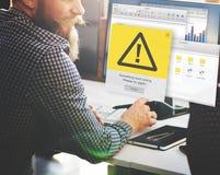 Concepto alerta del problema del icono del fracaso del error Fotos de archivo