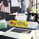 Concepto alerta detectado virus de la advertencia de seguridad Foto de archivo libre de regalías