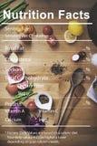 Concepto alimenticio de la dieta médica de los hechos de la nutrición fotografía de archivo