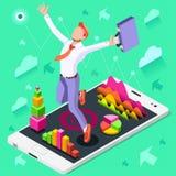 Concepto ambicioso del vector de Job Ambitions del cambio del negocio Imagen de archivo