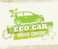 Concepto amistoso natural del vector del verde de la impulsión del coche de Eco en fondo áspero stock de ilustración
