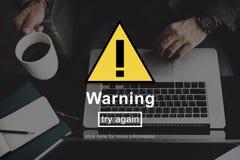 Concepto amonestador de la tecnología de la protección de la advertencia del peligro de la precaución Foto de archivo libre de regalías