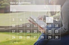 Concepto anual del planificador del año del mes de la fecha de día del calendario Imagen de archivo libre de regalías
