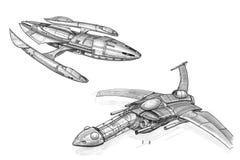 Concepto Art Drawing de la tinta de dos naves espaciales o naves espaciales futuristas fotografía de archivo libre de regalías