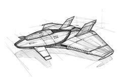 Concepto Art Drawing de la tinta de nave espacial o de aviones futuristas imagenes de archivo