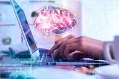 Concepto artificial del cerebro y del intercambio de ideas foto de archivo