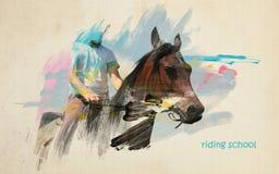Concepto artístico de la escuela de montar a caballo Fotos de archivo libres de regalías