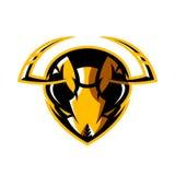 Concepto atlético del logotipo del vector del club de la cabeza furiosa del avispón aislado en el fondo blanco Imagen de archivo libre de regalías