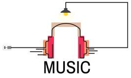 Concepto audio del auricular de las multimedias de la música Imagen de archivo