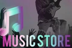 Concepto audio del gráfico del icono de la nota de la música de la tienda Imagen de archivo