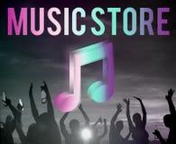 Concepto audio del gráfico del icono de la nota de la música de la tienda Imagen de archivo libre de regalías
