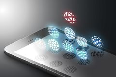 Concepto aumentado del márketing de la realidad El teléfono elegante del color negro con diseño minimalistic forma, las esferas b stock de ilustración