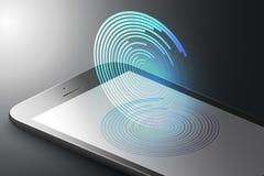 Concepto aumentado del márketing de la realidad Teléfono elegante del color negro con los círculos coloridos en estilo minimalist ilustración del vector