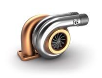 Concepto auto de la turbina 3D. Turbocompresor de acero en blanco. Imagen de archivo