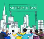 Concepto avanzado de la democracia urbana metropolitana de la ciudad imagen de archivo libre de regalías