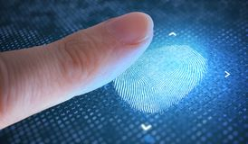 Concepto biométrico y de la seguridad Huella dactilar de exploración del finger fotografía de archivo libre de regalías