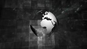 Concepto blanco y negro del globo con una capa de las partículas de la nieve de las chispas stock de ilustración