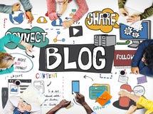 Concepto Blogging contento del medios establecimiento de una red social del blog Fotos de archivo