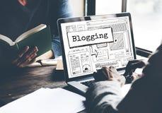 Concepto Blogging de la conexión de la comunicación del negocio imagen de archivo libre de regalías