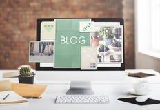 Concepto Blogging del gráfico de los iconos de las ideas del blog Imagen de archivo libre de regalías