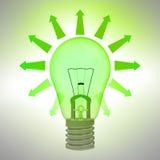 Concepto brillante verde de la ecología del bulbo con las flechas ilustración del vector