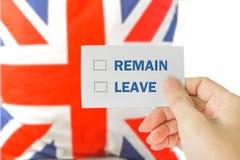 Concepto BRITÁNICO del referéndum de la UE de Brexit Imagen de archivo