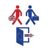 Concepto BRITÁNICO del referéndum de la UE de Brexit con las banderas y los mensajes tópicos Imagen de archivo
