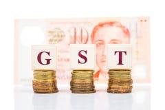 Concepto bueno y de servicios del impuesto de GST o con la pila de moneda y de moneda del dólar de Singapur como contexto Imágenes de archivo libres de regalías