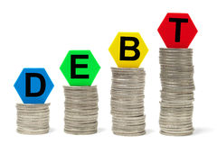 Concepto cada vez mayor de la deuda Foto de archivo