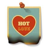 Concepto caliente del amor Tarjeta de papel quemada con forma del corazón Imagen de archivo