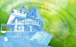 Concepto casero elegante - casa y bokeh del verde azul - concepto de la ecología del ambiente Imagen de archivo libre de regalías