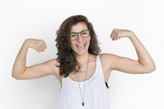 Concepto caucásico de señora Strong Hand Gesture Imagen de archivo libre de regalías