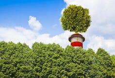 Concepto cero con un árbol encima de una chimenea - Ima de las emisiones de CO2 imagenes de archivo