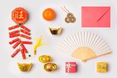 Concepto chino del Año Nuevo con las decoraciones tradicionales para la primavera