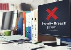 Concepto cibernético de la política de privacidad del crimen del pirata informático de la violación de la seguridad fotos de archivo