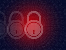 Concepto cibernético de la seguridad del crimen en fondo negro Foto de archivo