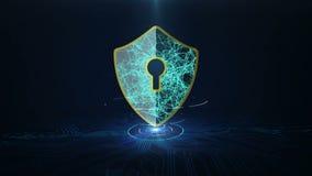 Concepto cibernético de la seguridad de la protección de datos con el icono del escudo en placa de circuito impresa stock de ilustración