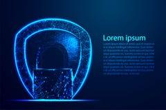 Concepto cibernético de la seguridad, protección del escudo, cerradura, seguridad, candado, ojo de la cerradura Malla polivin?lic ilustración del vector