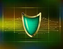 Concepto cibernético del antivirus de la seguridad con el escudo azulverde del oro, fu stock de ilustración