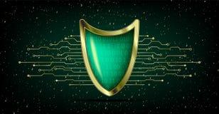 Concepto cibernético del antivirus de la seguridad con el escudo del verde del oro, futuris stock de ilustración