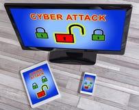 Concepto cibernético del ataque en diversos dispositivos imagen de archivo libre de regalías