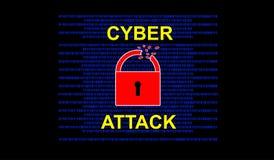 Concepto cibernético del ataque en fondo negro foto de archivo