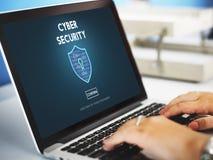 Concepto cibernético del interfaz del cortafuego de la protección de seguridad fotos de archivo libres de regalías