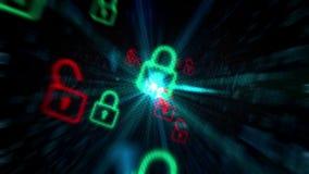 Concepto cibernético del pixel del candado de la seguridad ilustración del vector