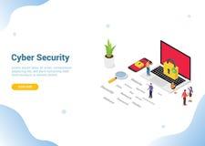 Concepto cibernético isométrico para el homepage del aterrizaje de la bandera de la plantilla de la página web - vector de la  ilustración del vector