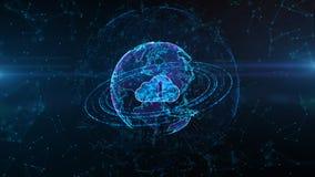 Concepto cibernético seguro de la seguridad de Digitaces Cloud Computing de la red de datos Elemento de la tierra equipado por la ilustración del vector