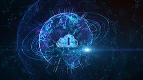 Concepto cibern?tico seguro de la seguridad de Digitaces Cloud Computing de la red de datos Elemento de la tierra equipado por la libre illustration
