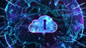 Concepto cibern?tico seguro de la seguridad de Digitaces Cloud Computing de la red de datos Elemento de la tierra equipado por la stock de ilustración
