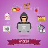 Concepto cibernético del crimen con el pirata informático Fotos de archivo